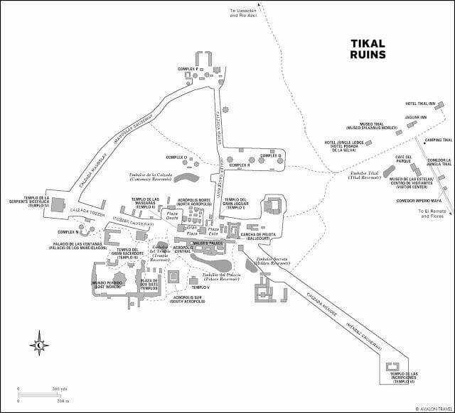mapa ruinas de Tikal
