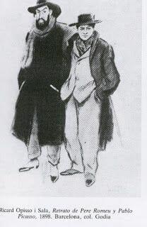 Picasso con Pere Romeu - els quatre gats