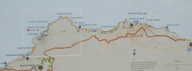 mapa de la Calzada de los Gigantes Irlanda