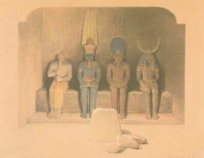 dibujo litografía del sagrario de Abu simbel