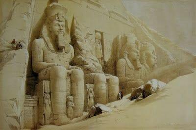 dibujocon Abu Simbel semienterrado en la arena