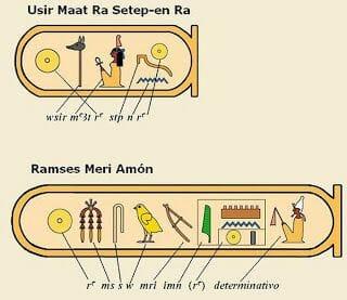 Usermaatra Setepenra, el Prenomen seguido del nesu-bity (rey dual) y el de Ramsés Meriamón, del Nomen del sa-ra (hijo de Ra)