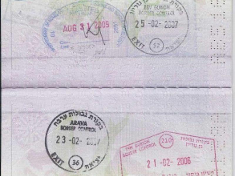 Problemas con sellos de Israel en el pasaporte