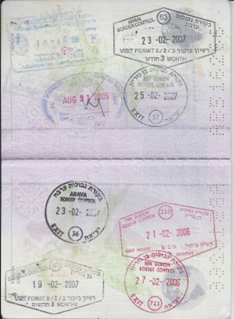 Sellos de Israel en el pasaporte