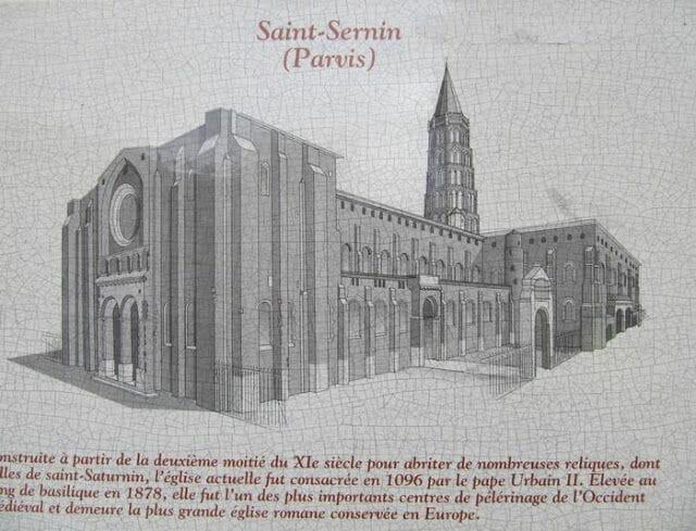 dibujo de la Basílica de San Sernin de Toulouse