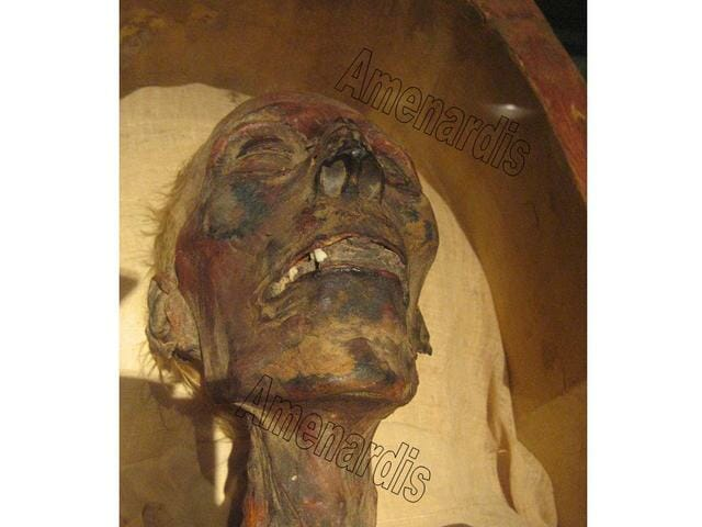 cabeza de la momia de Ramsés II en el museo de El Cairo