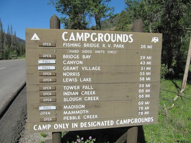 campings de Yellowstone
