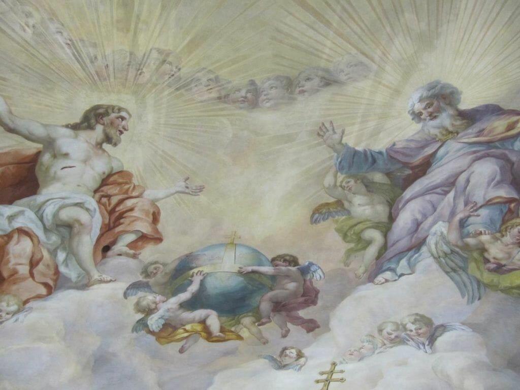 Dios y Jesús en la cúpula de San carlos borromeo de Viena