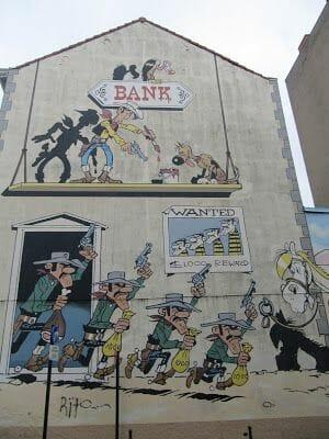 mural de Lucky Luke en Bruselas