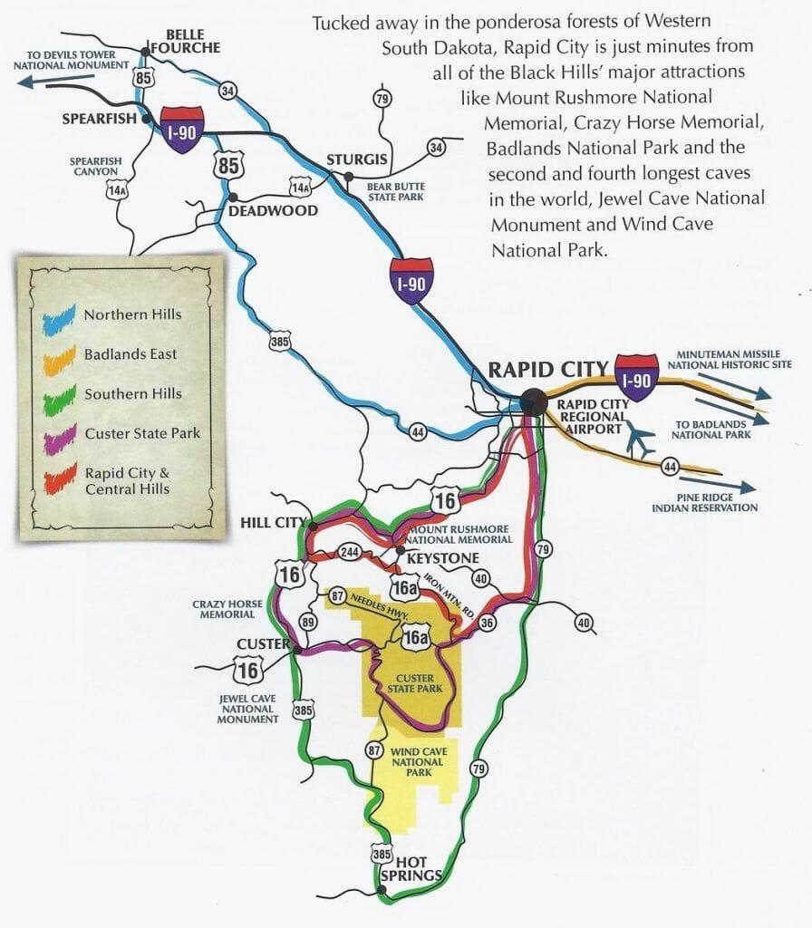 mapa rapid city y alrededores