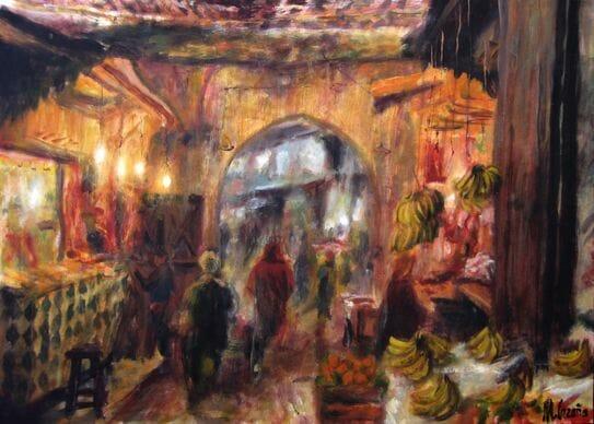 pintura de marrakech del zoco