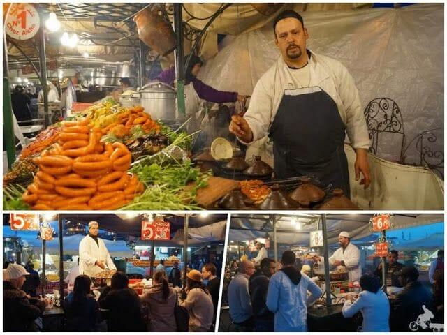 paradas comida plaza marrakech