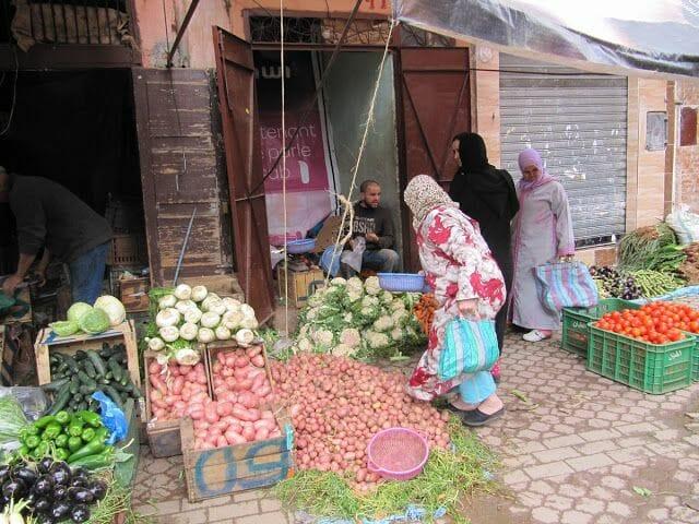 el zoco de marrakech parada verdura
