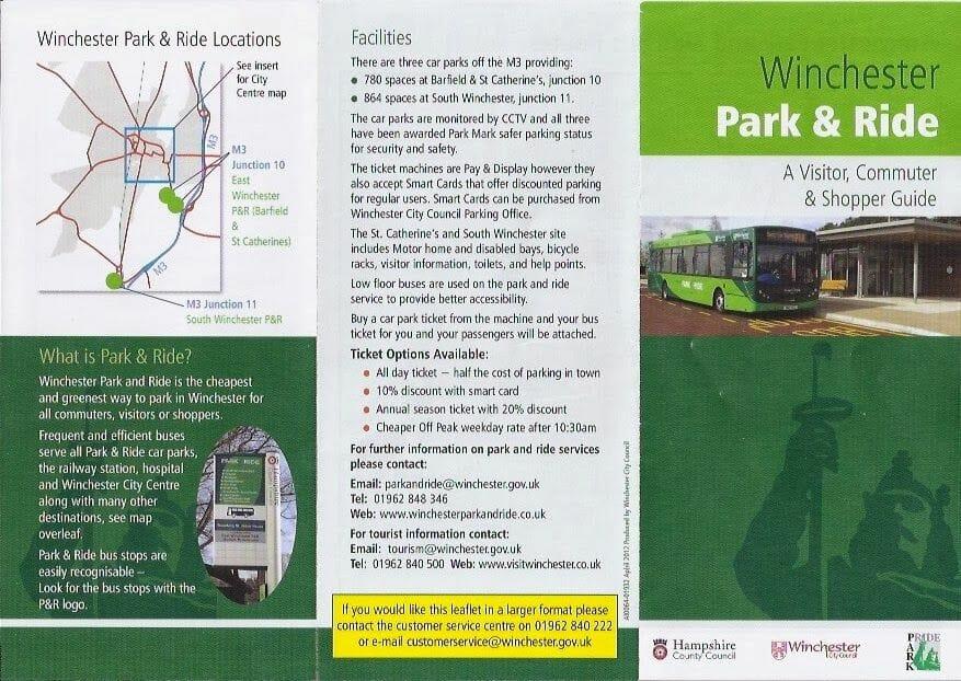 mapa park and ride de Winchester