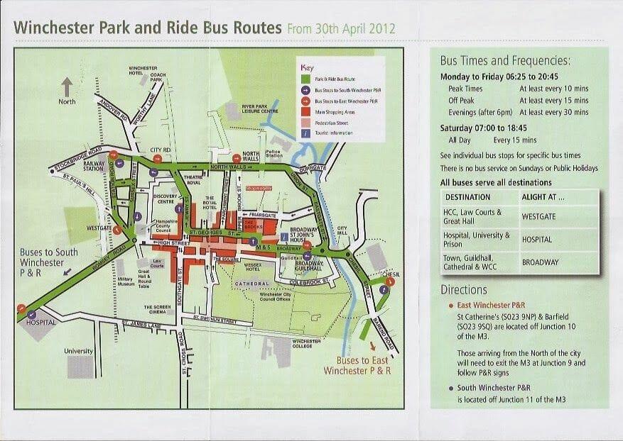 park and ride de Winchester mapa