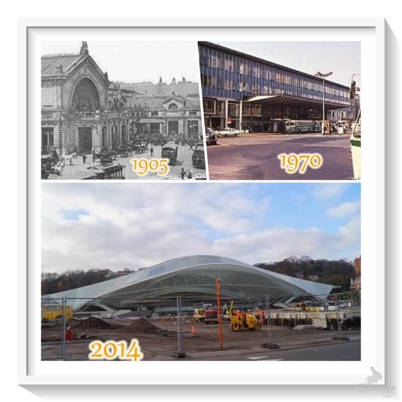 evolución de la estación de tren de Lieja