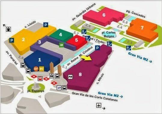 Fira Barcelona Montjuic, plano fira Barcelona, Mapa de la fira