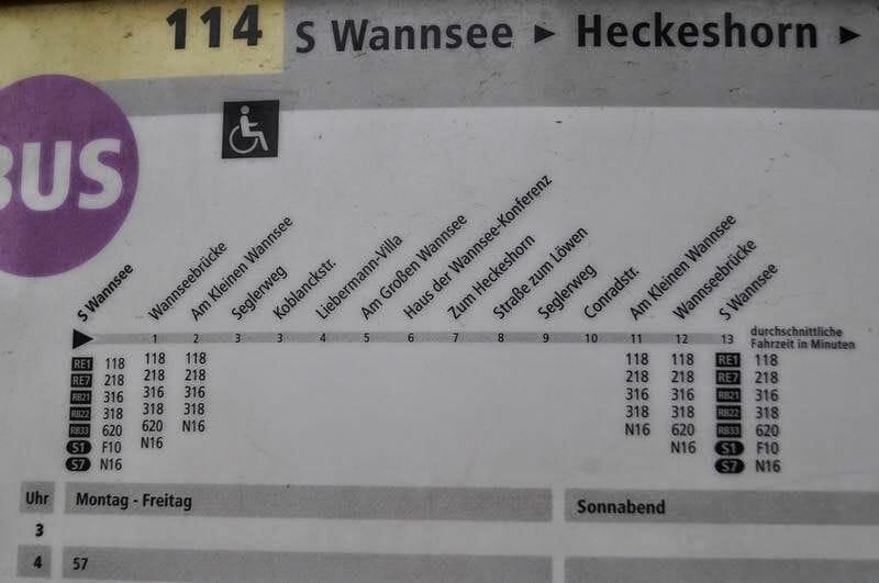 paradas del bus 114 Wannsee