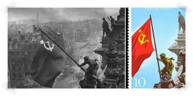 COMUNISTAS SOVIETICOS PONIENDO BANDERA PARLAMENTO ALEMAN REICHSTAG
