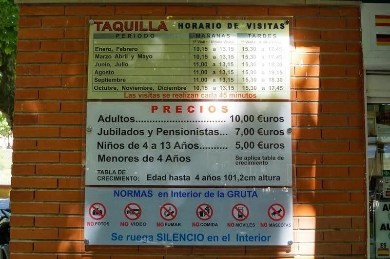 horarios y precios de las grutas de San José