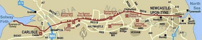mapa del recorrido del muro de adriano