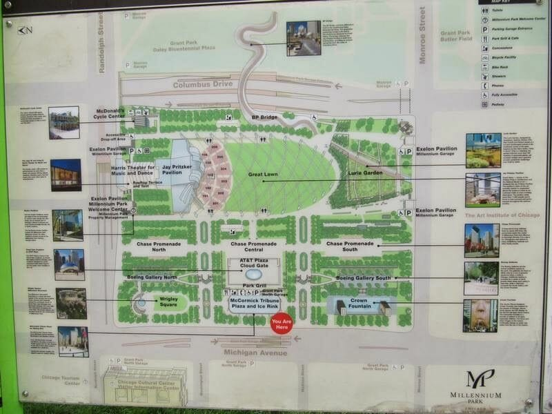mapa Milenium park