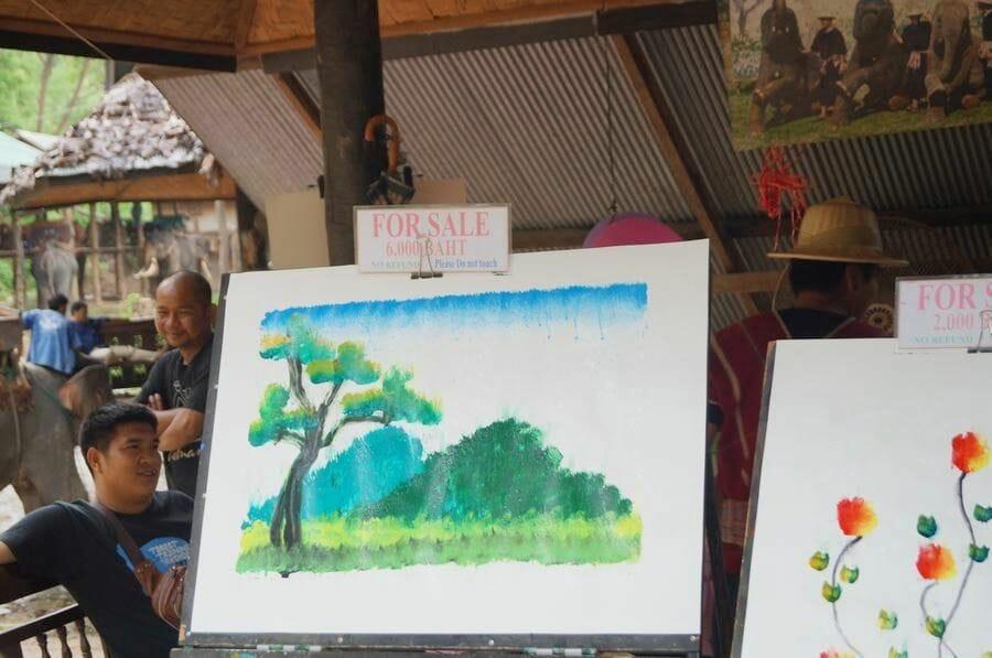 cuadros Elefantes pintores chiang mai