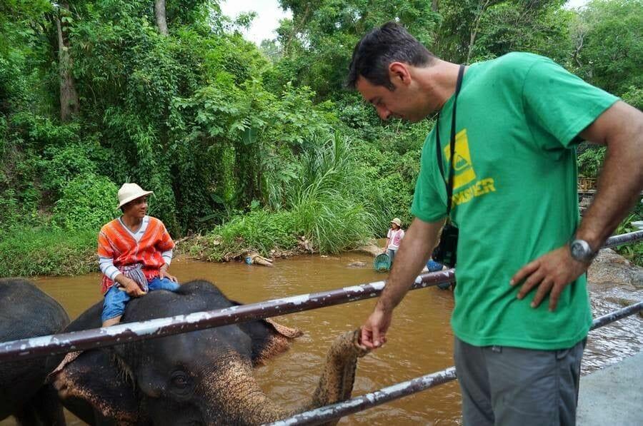 Baño de elefantes en el Elephant Park Chiang Mai