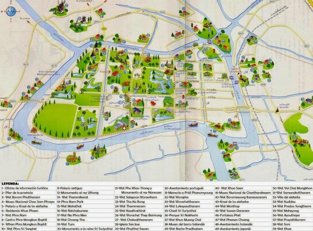 mapa ruinas ayutthaya