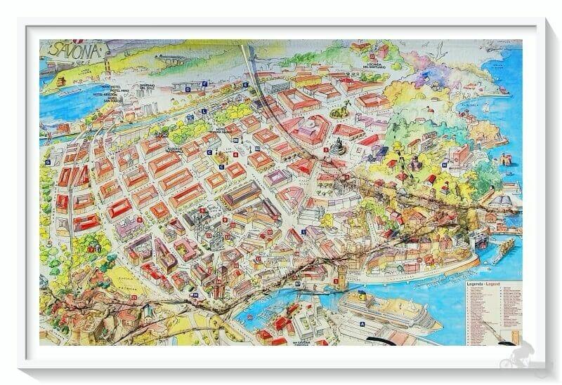 plano mapa para visitar Savona