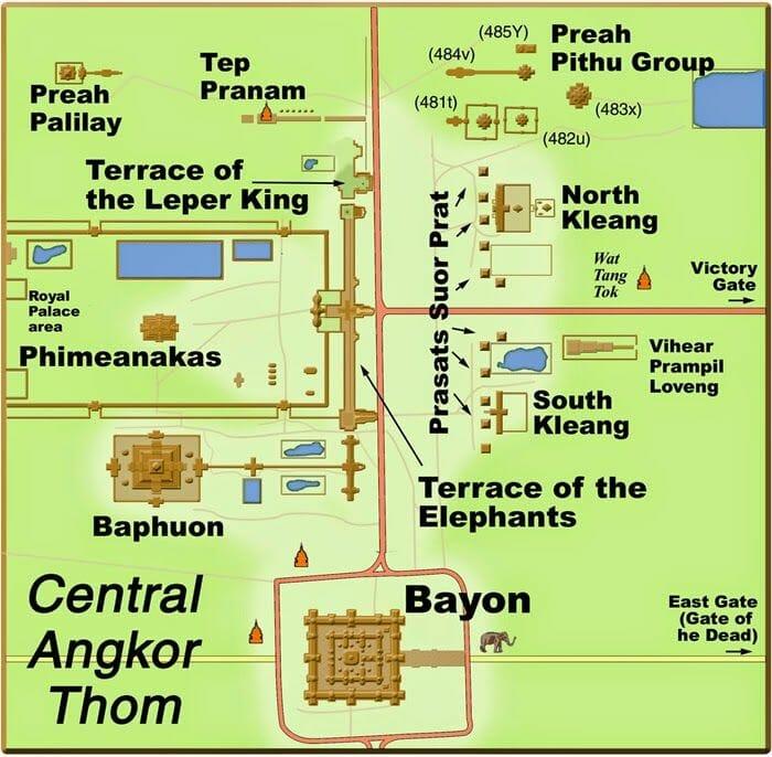 mapa de angkor thom, templos de angkor mapa, bayon