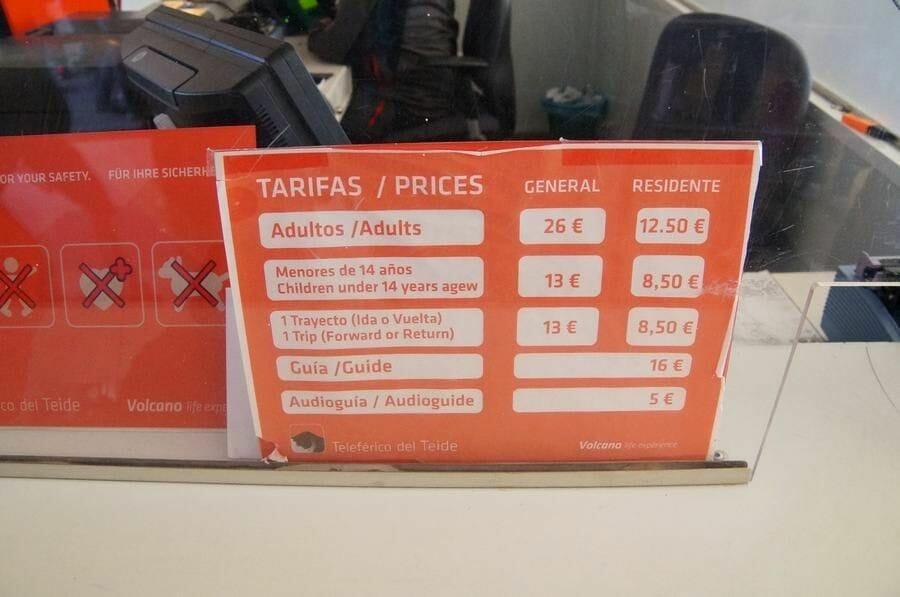 TELEFÉRICO DEL TEIDE precios