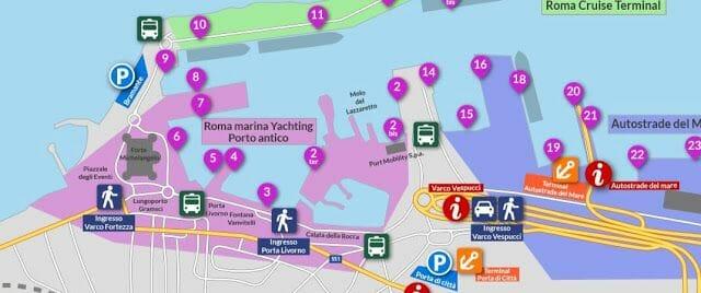 mapa puerto Civitavecchia