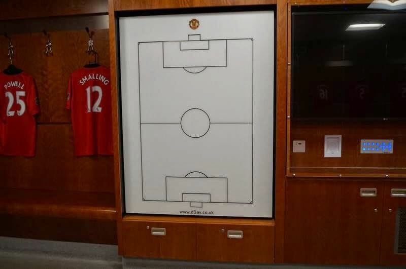Vestuarios del Manchester United pizarra tacticas