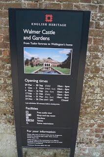 castillo de Walmer cartel entrada