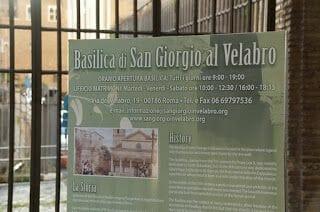 iglesia de San Jorge en Velabro cartel entrada