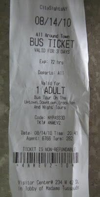 bus citysight ticket, boleto citysights bus turístico,