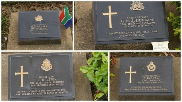 cementerio de guerra de Kanchanaburi lápidas