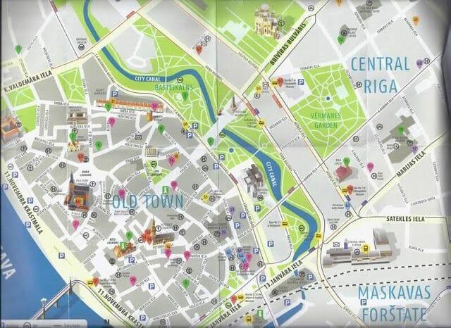 mapa turistico de Riga
