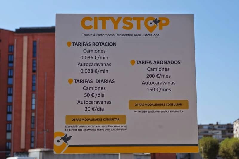 parking de autocaravanas en Barcelona Citystop
