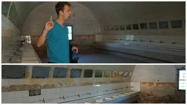 lavabos de prisioneros con espejos para la visita de la Cruz Roja