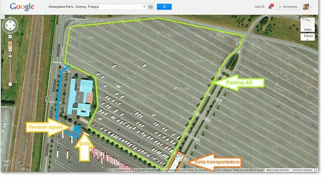 mapa Parking de autocaravanas en Disneyland Paris