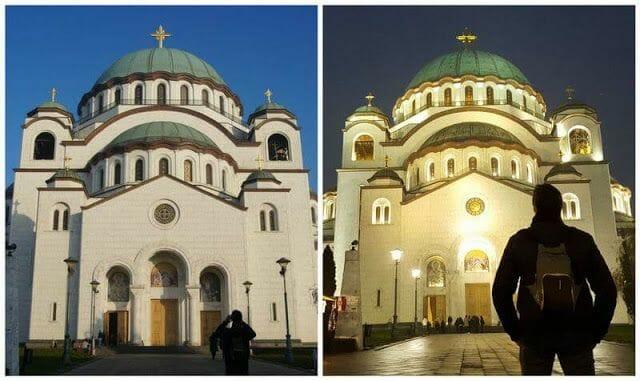 Catedral de San Sava iluminada