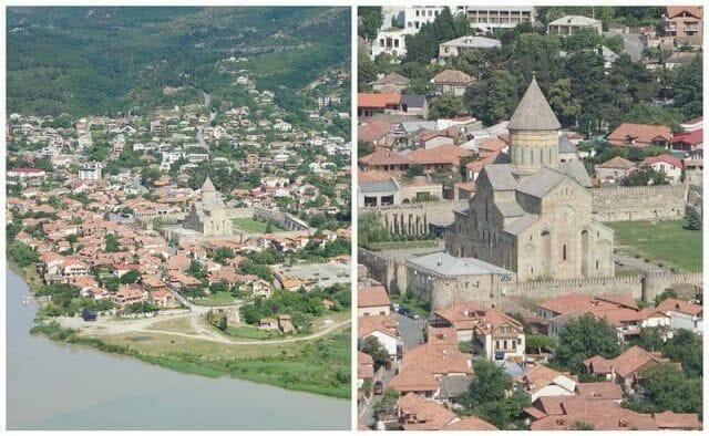 la catedral de Svetitskhoveli desde elMonasterio Jvari