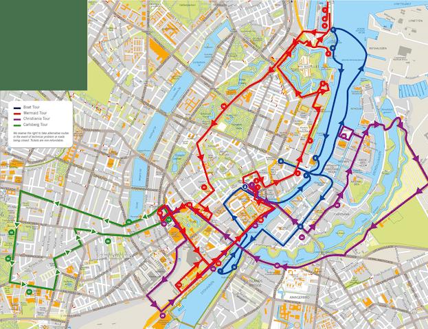 mapa bus turístico Copenhague