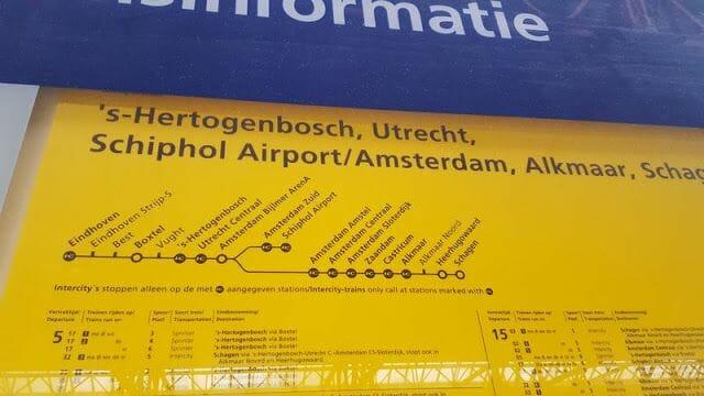 paradas de tren eindhoven amsterdam