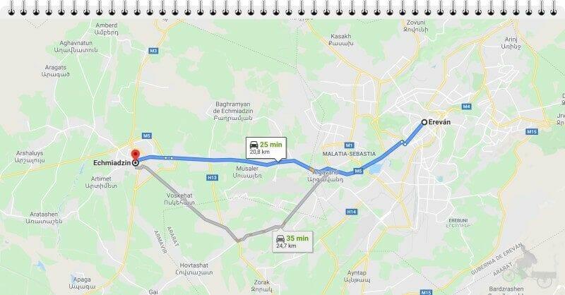 Cómo llegar a Echmiadzin desde Ereván