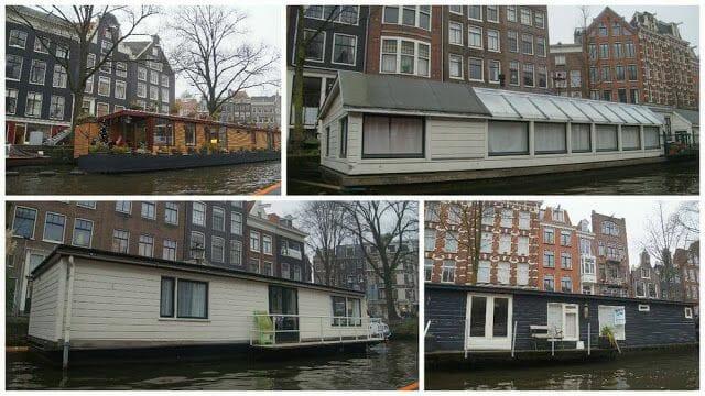 barcas amarradas en los canales de Ámsterdam