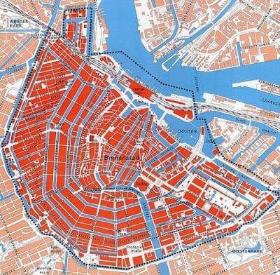 plano canales de Ámsterdam