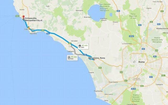 de Fiumicino a Civitavecchia